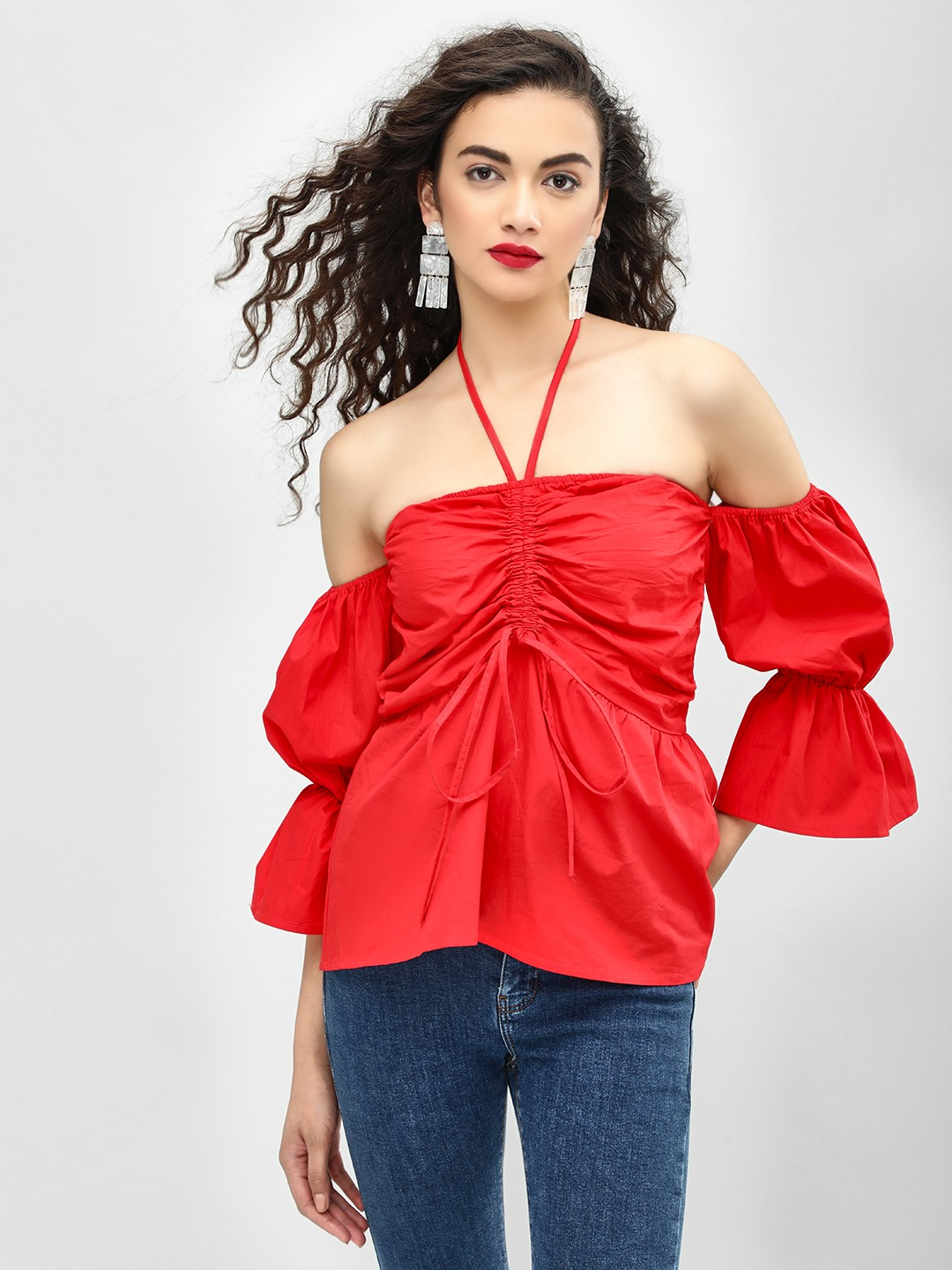 Ri-Dress Red Bell Sleeve Halter Neck Blouse 1