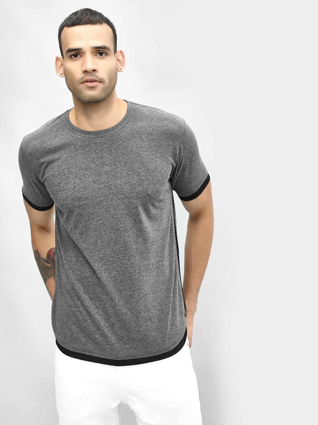 Blotch Grey Contrast Tape Detail Ringer T-Shirt 1