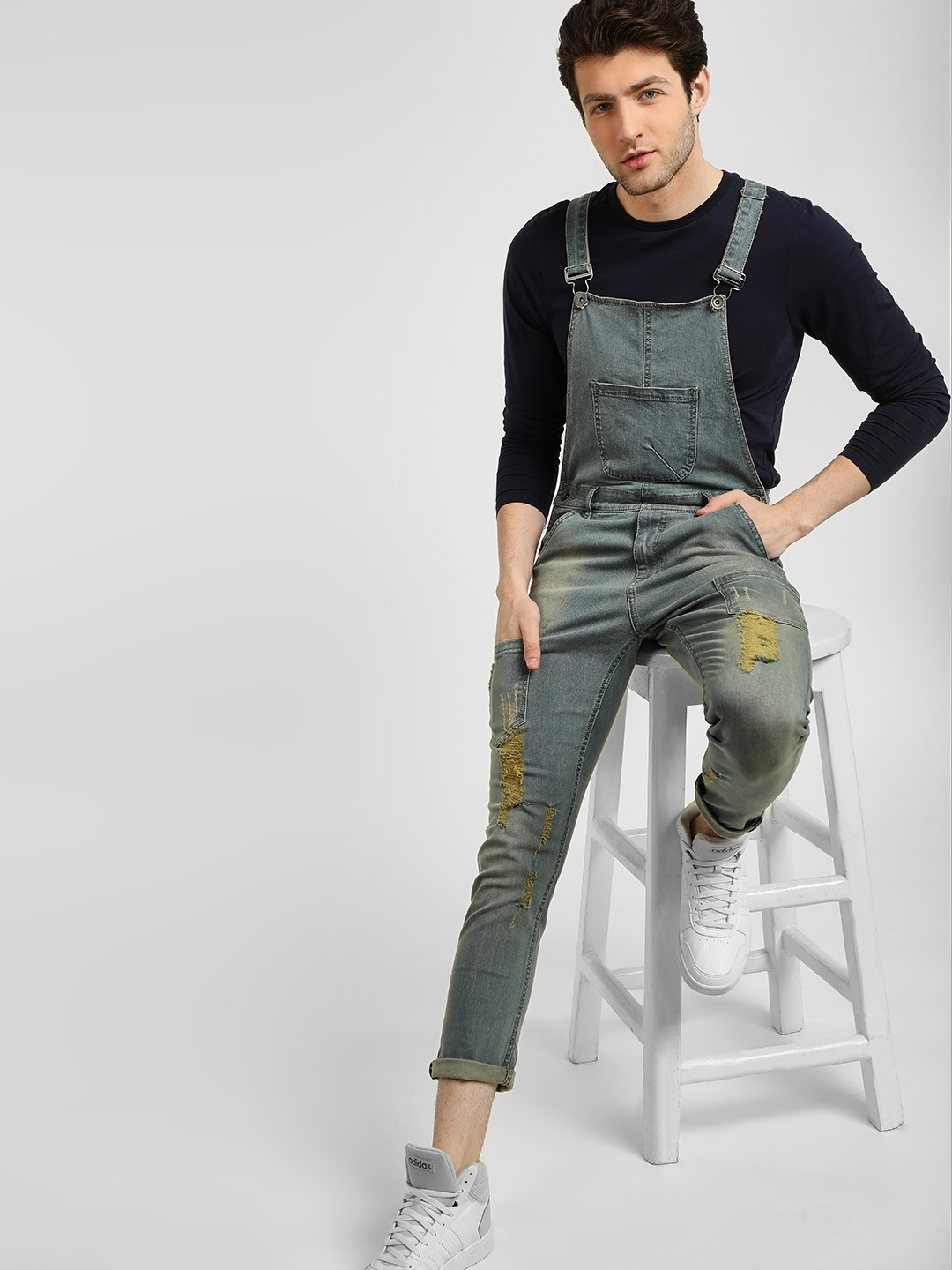 K Denim Blue KOOVS Light Washed & Ripped Dungarees 1