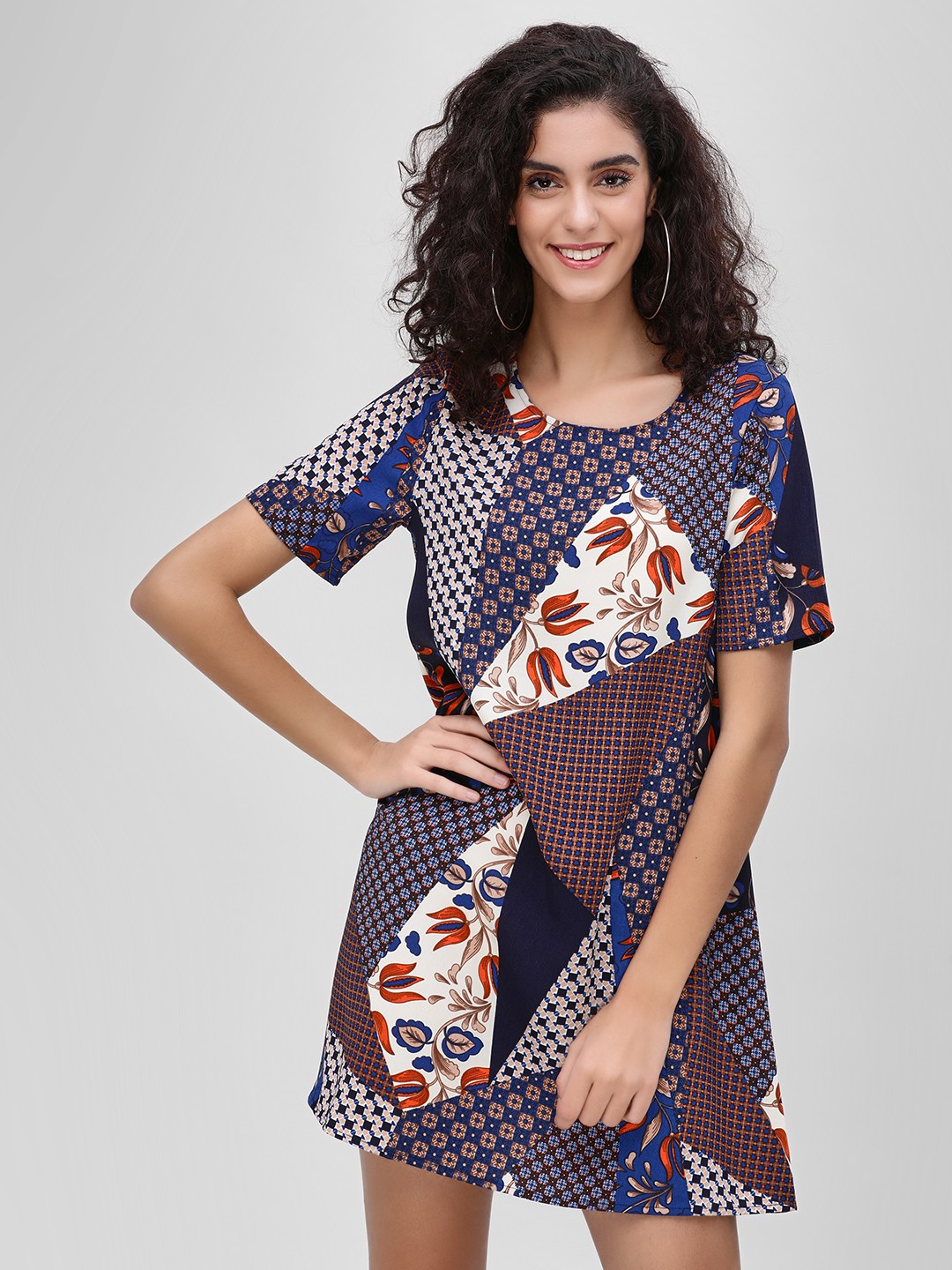 Glamorous Multi Geo Patchwork Shift Dress 1
