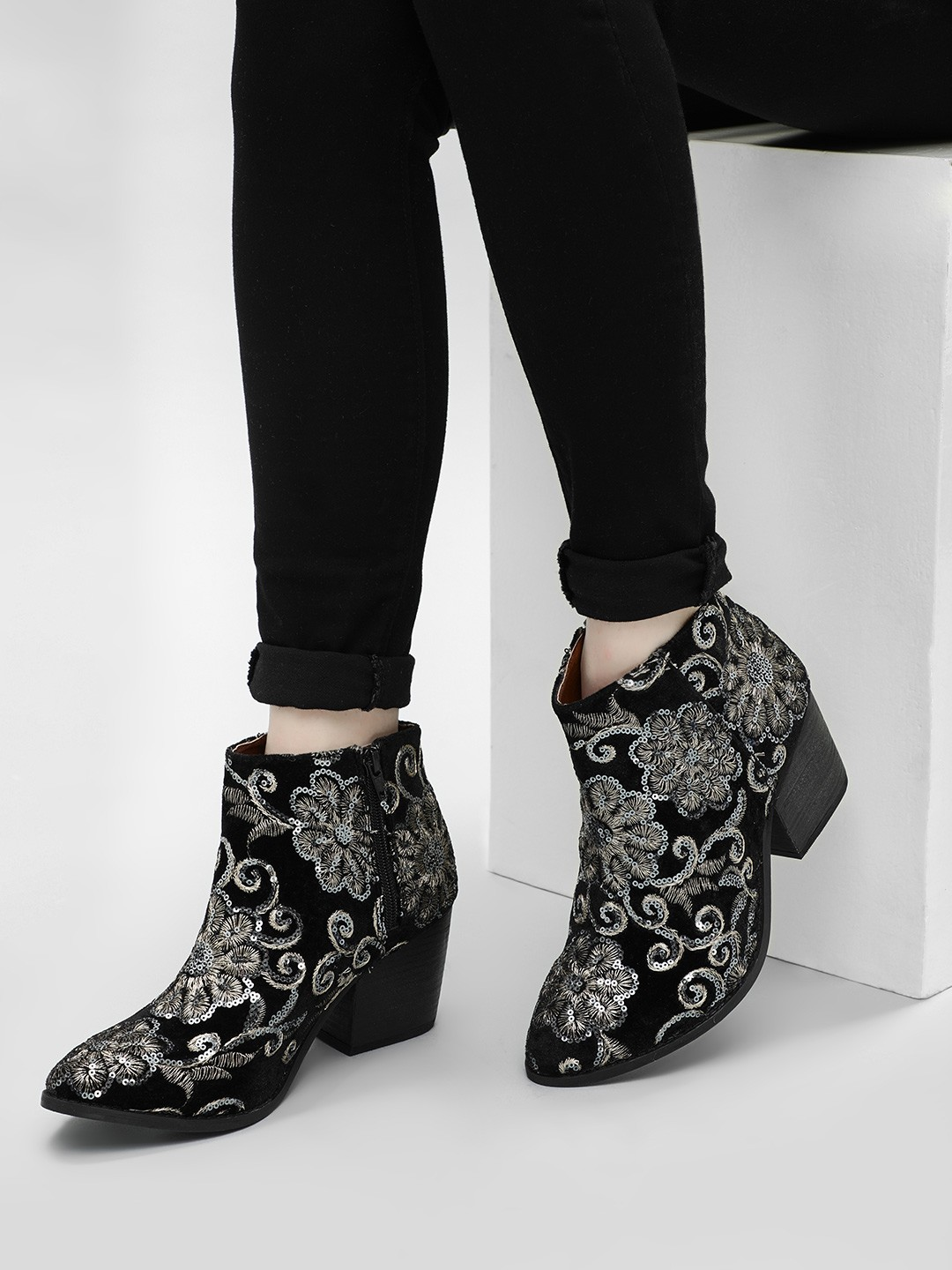 KOOVS Black Sequin Embroidered Ankle Boots 1