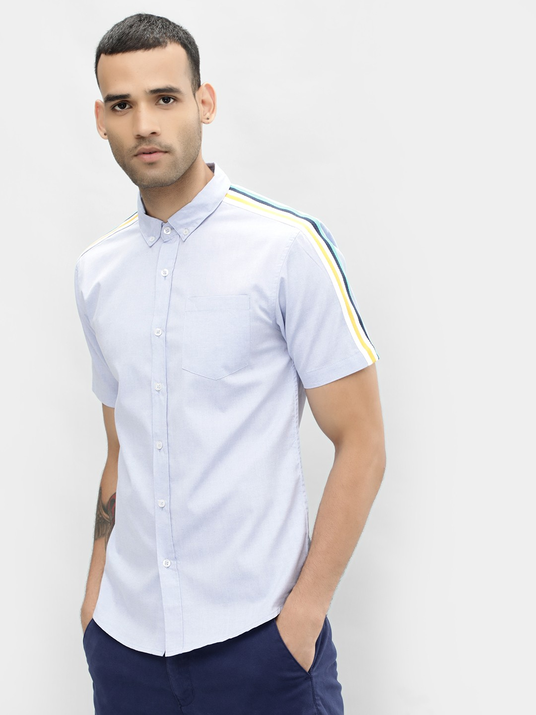 KOOVS Blue Tape Detail Slim Shirt 1