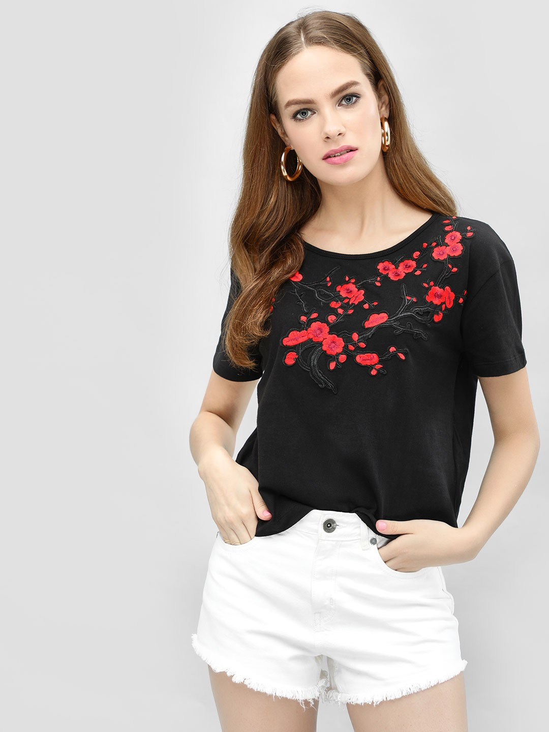 KOOVS Black Floral Embroidered Patch T-Shirt 1