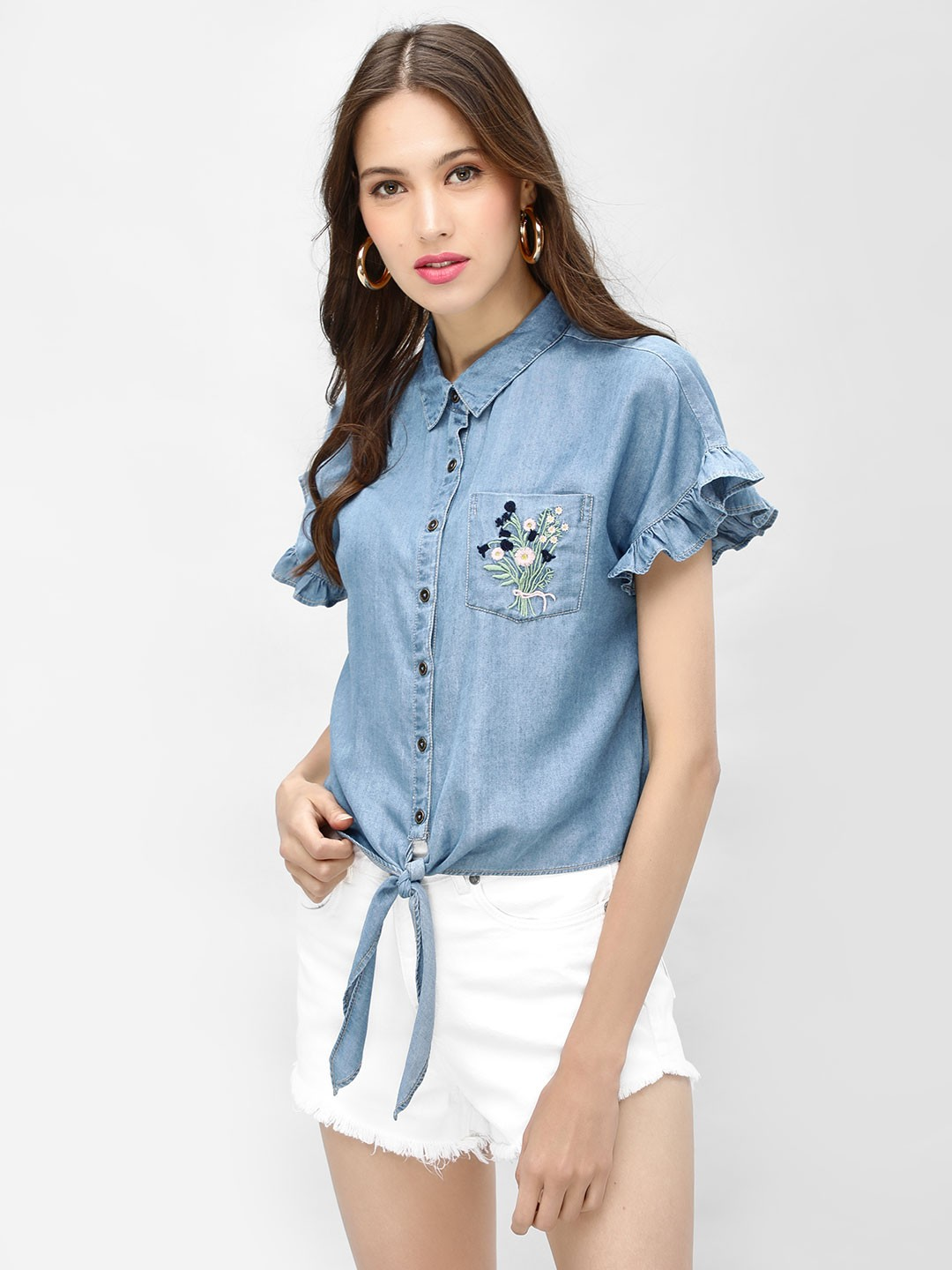 KOOVS Blue Embroidered Pocket Denim Shirt 1