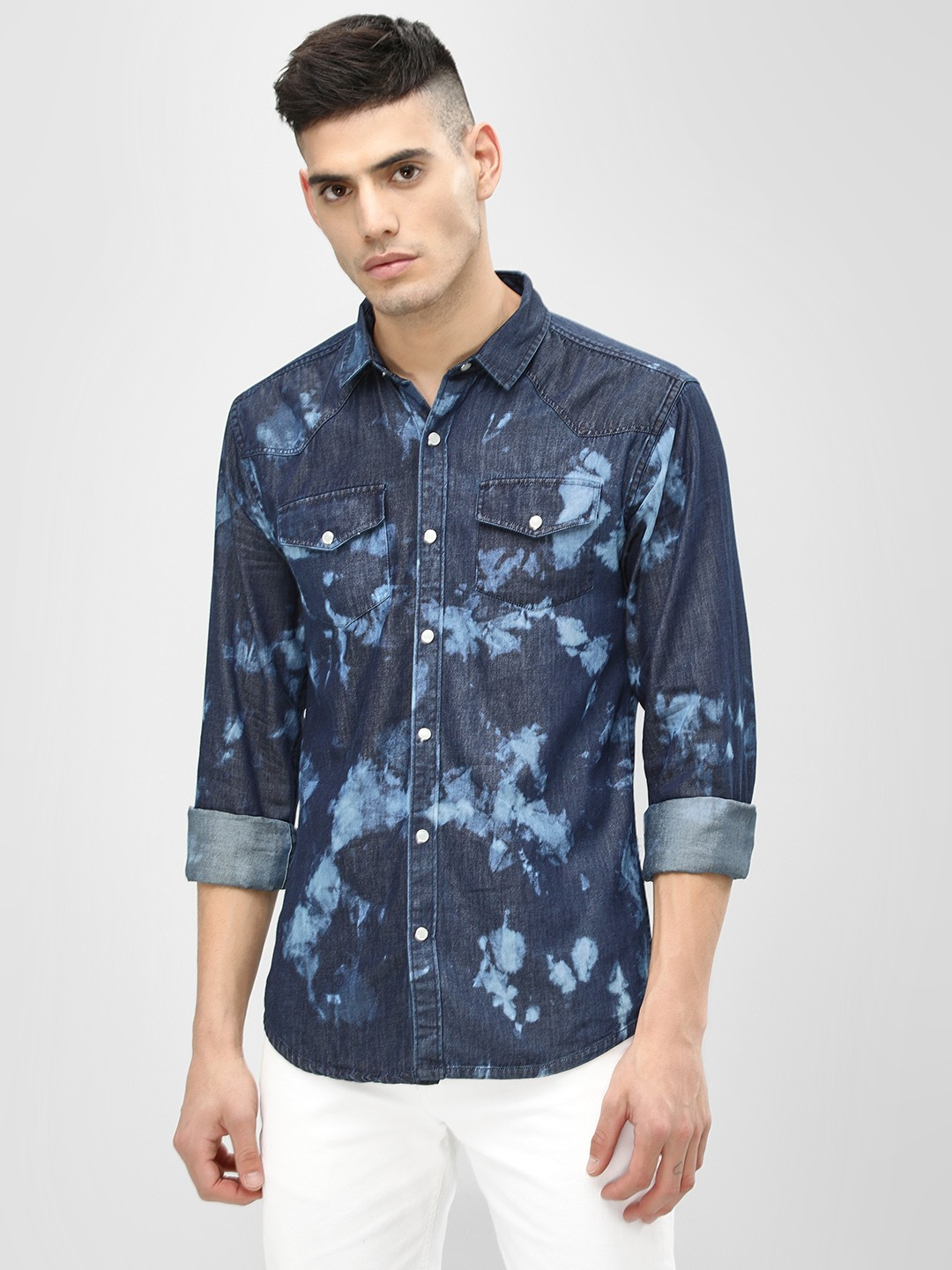 K Denim Blue KOOVS  Bleach Washed Denim Shirt 1