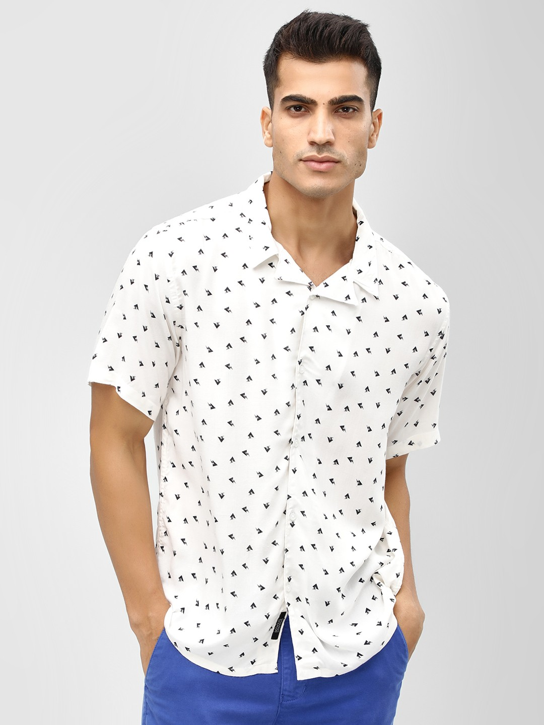 KOOVS White Triangle Print Cuban Shirt 1