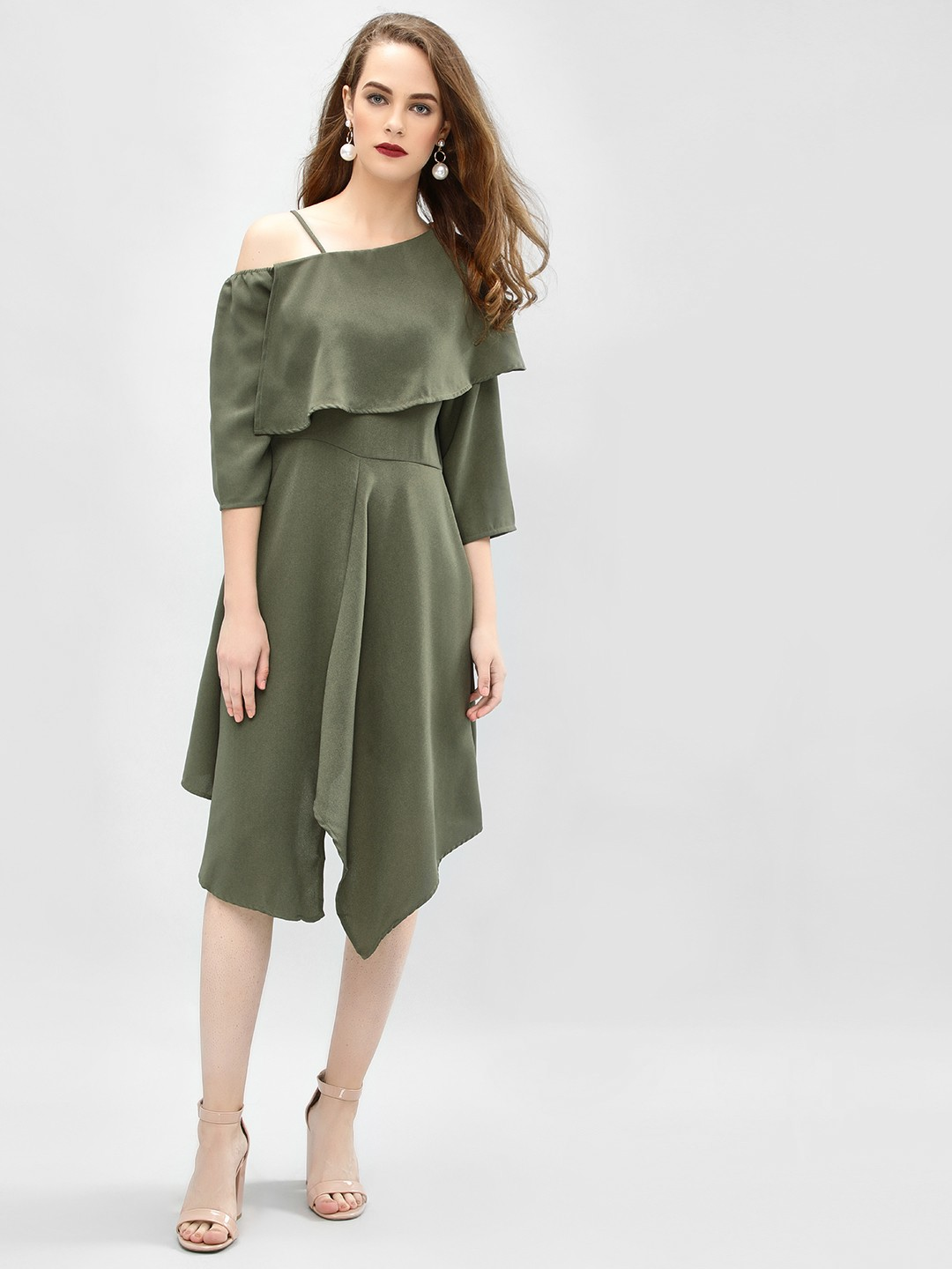 Femella Olive One Shoulder Asymmetric Dress 1