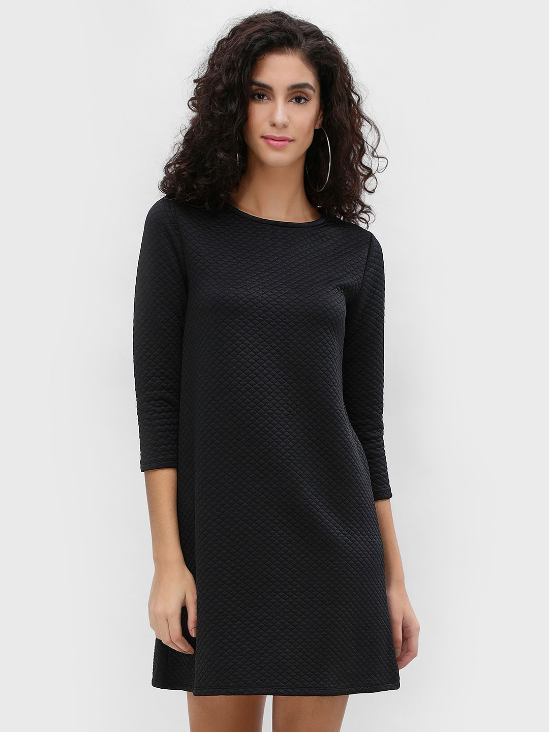 Femella Black Quilted Shift Dress 1