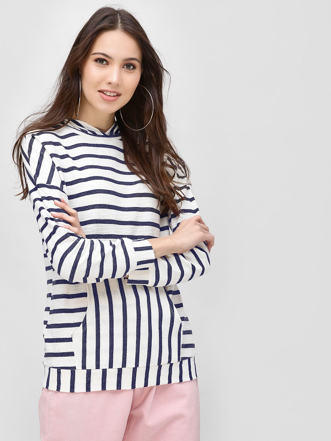 Femella Navy/White All Over Stripe Hoodie 1