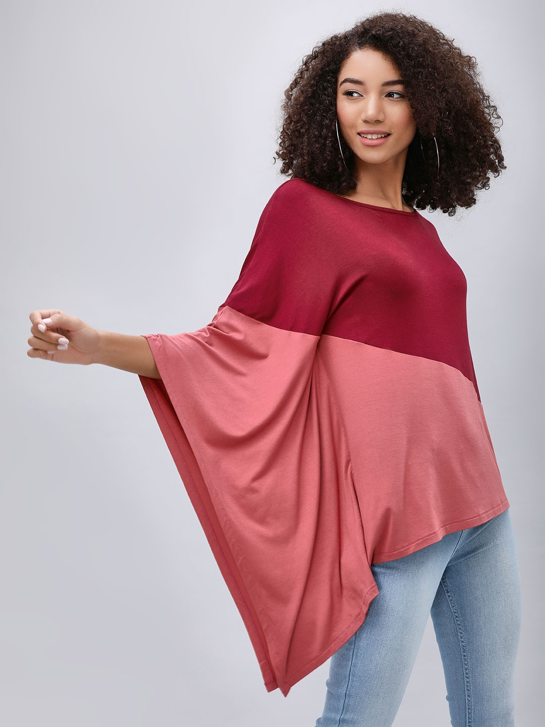 Femella Wine Colour Block Poncho Top 1