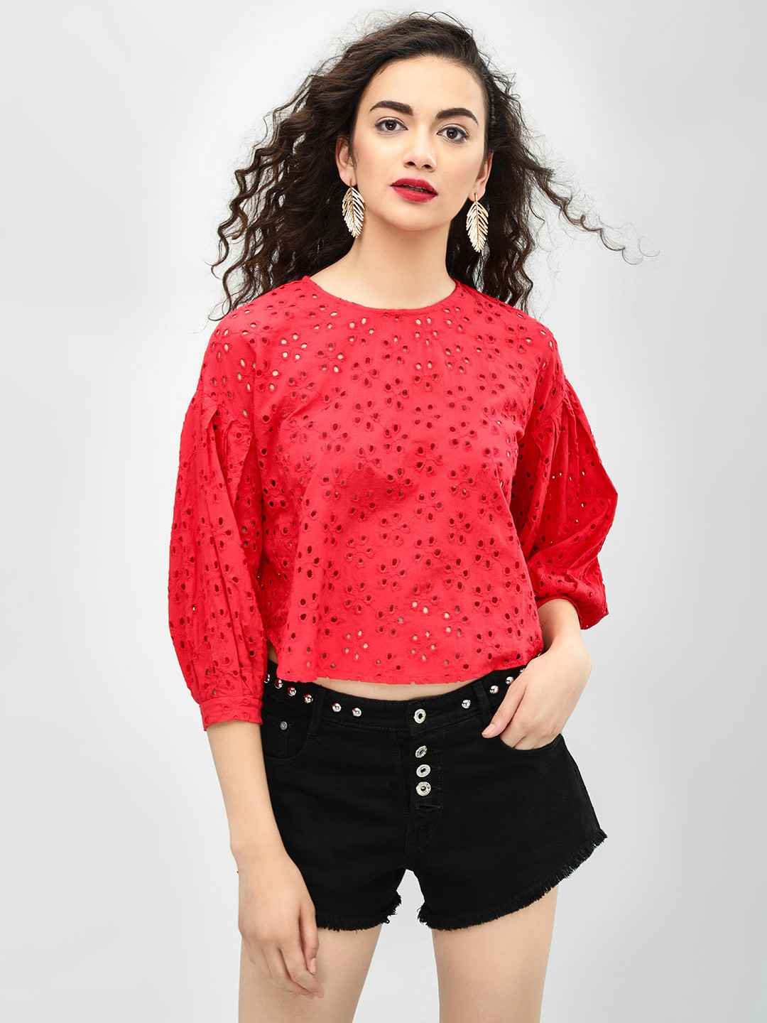 KOOVS Red Volume Sleeve Broderie Top 1