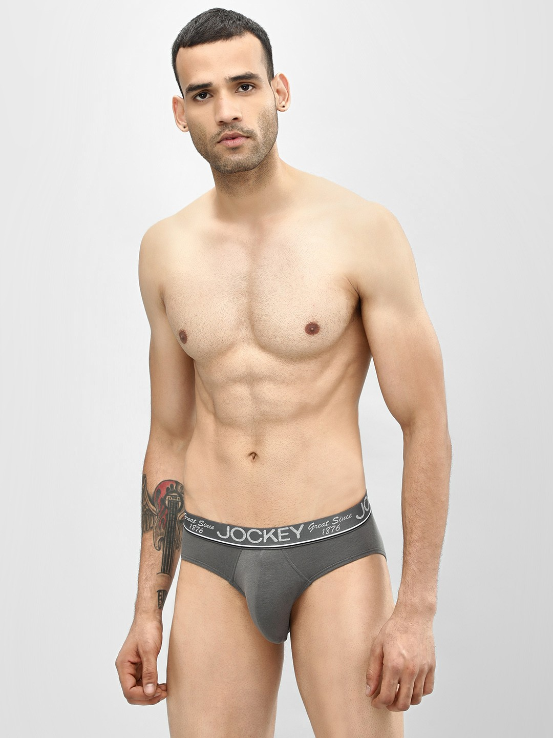 Jockey Grey Basic Square Cut Brief 1