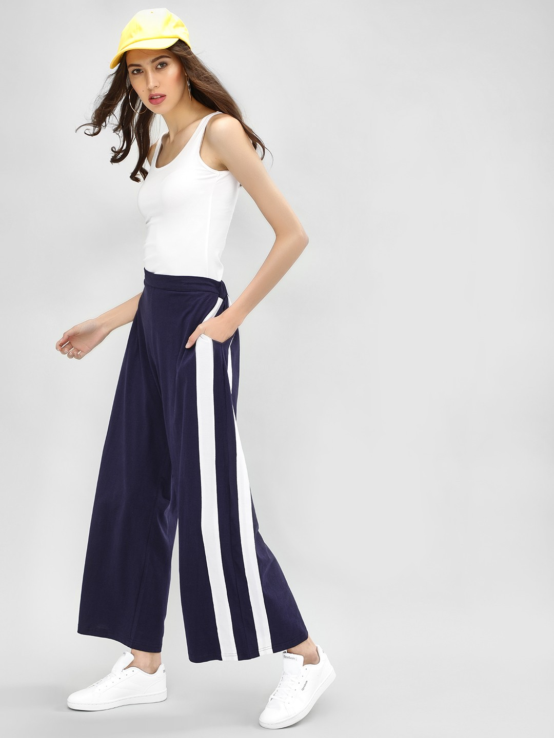 Spring Break Navy Contrast Tape Palazzo Pants 1