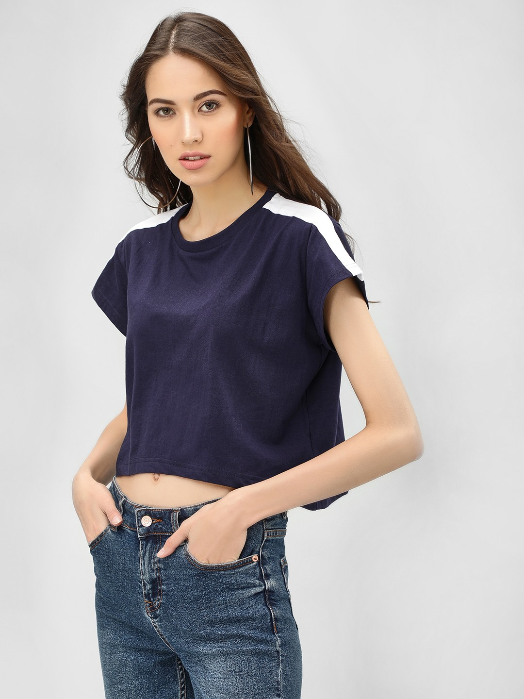 Spring Break Navy Contrast Tape Crop T-Shirt 1