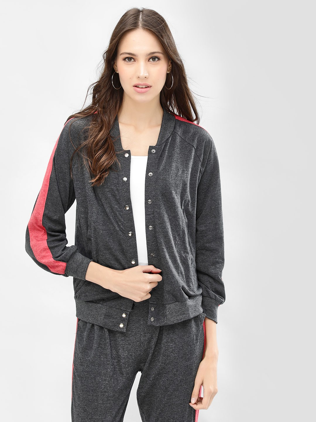 Spring Break Grey Contrast Side Tape Bomber Jacket 1