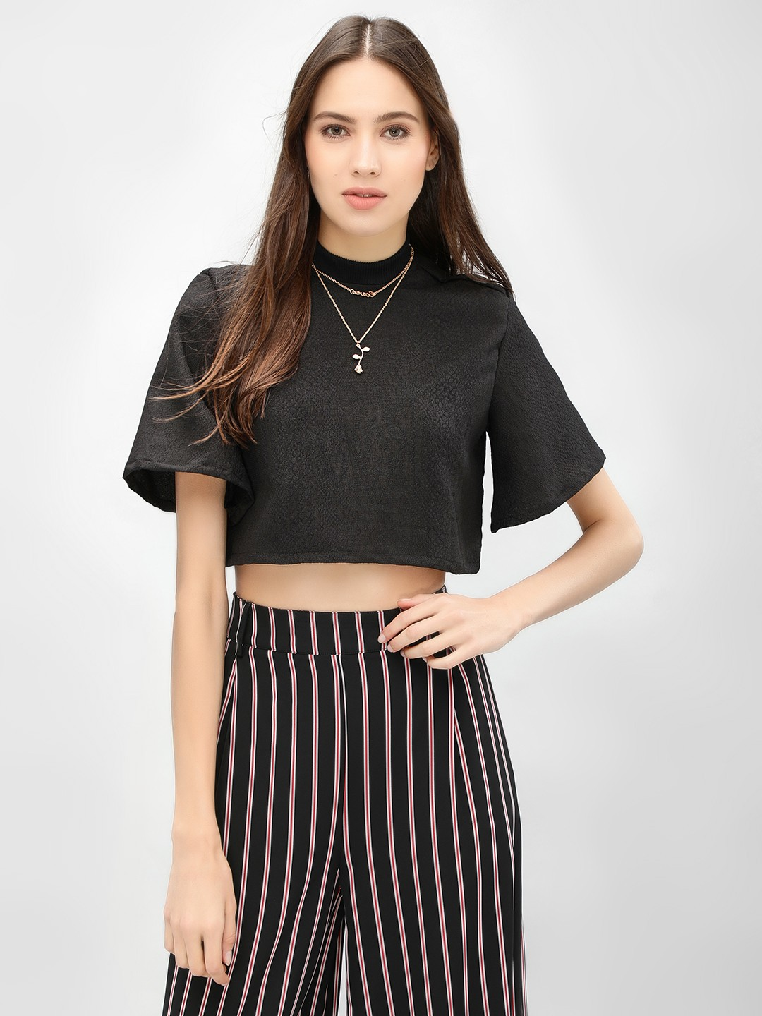Boho Indian Black Ribbed High Neck Crop Top 1