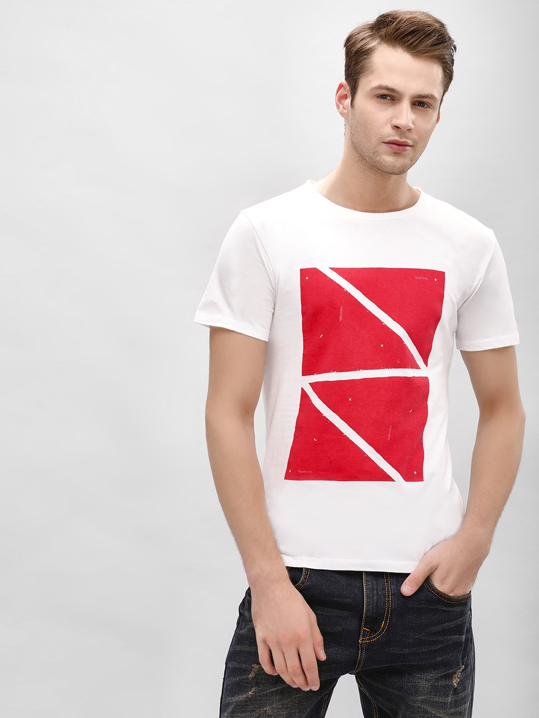 Gully White Colour Block Placement Print T-Shirt 1