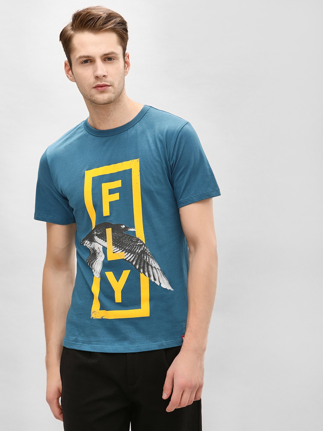 Gully Blue Flying Bird Print T-Shirt 1