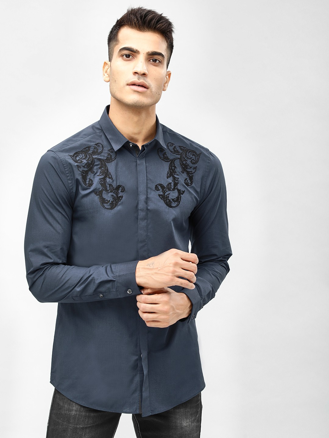 New Look Navy Embroidered Shoulder Detail Shirt 1
