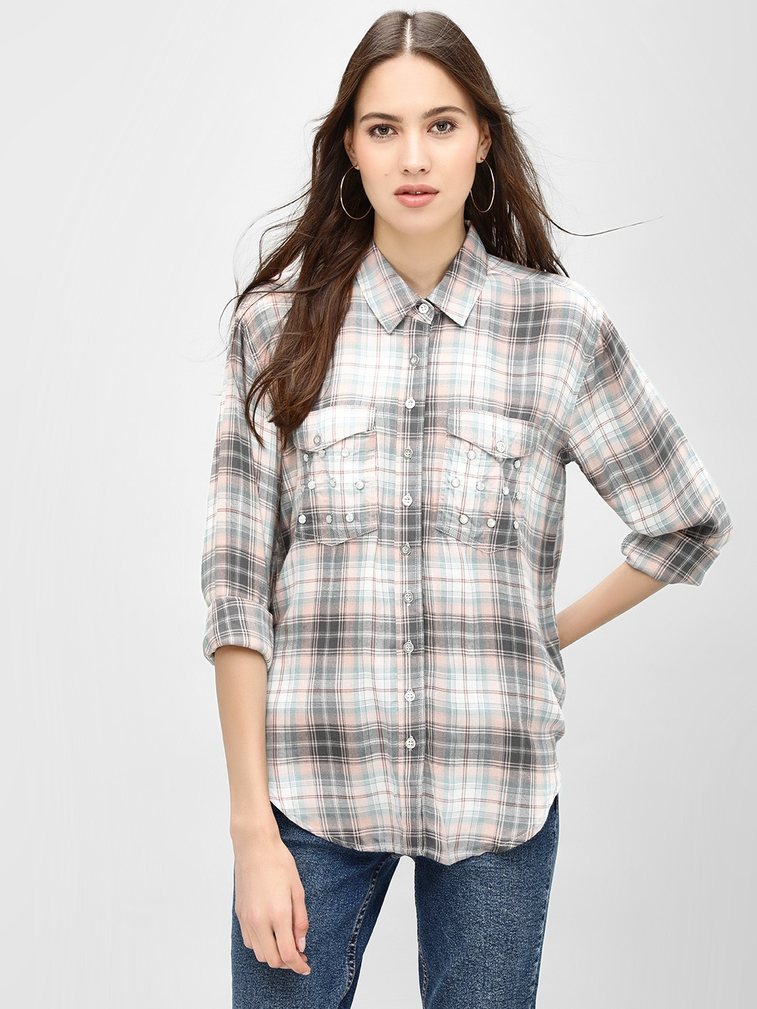 KOOVS Multi Buttoned Pocket Check Shirt 1