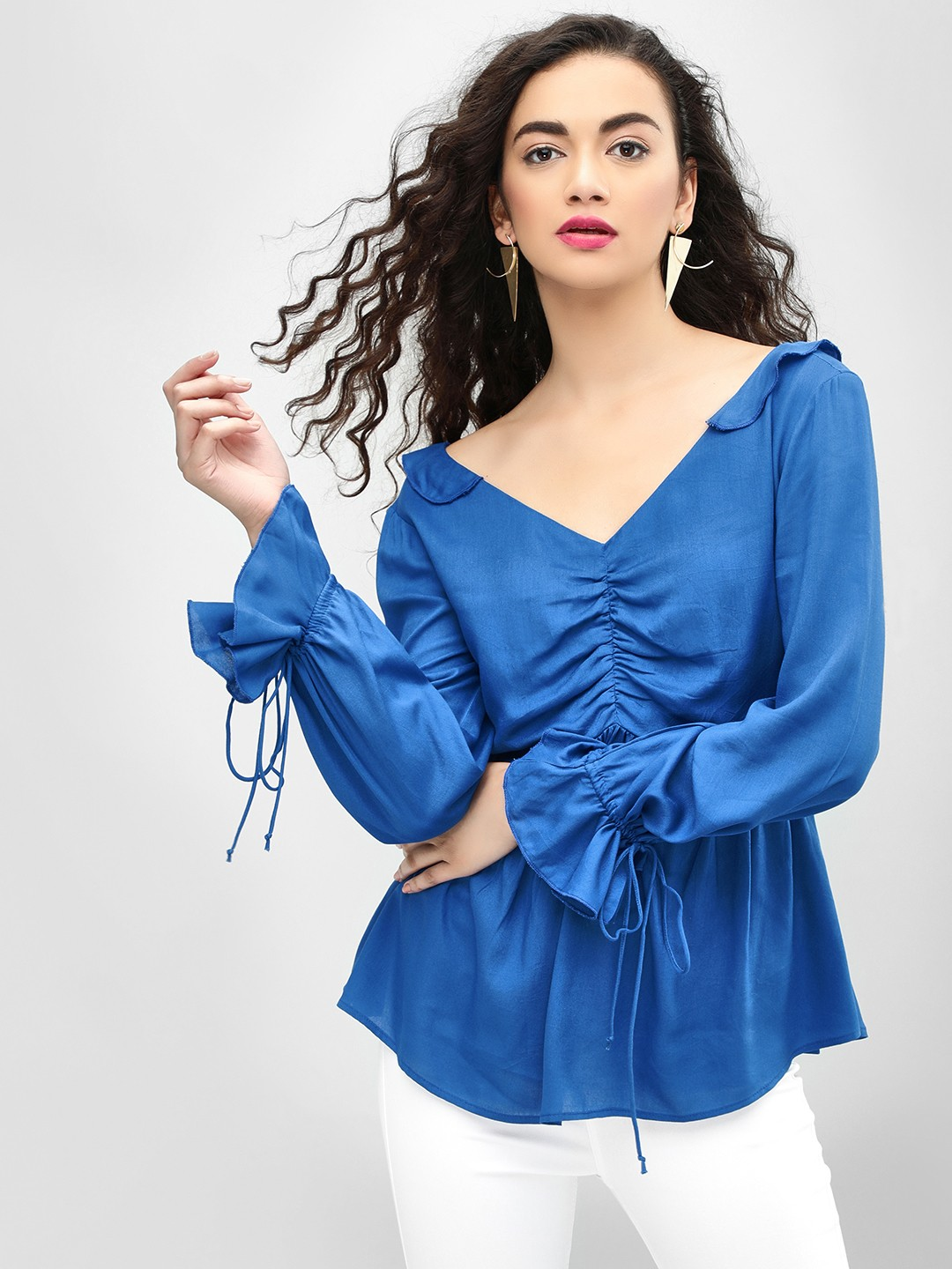 MIWAY Blue Broad Neck Tie-On Sleeve Blouse 1