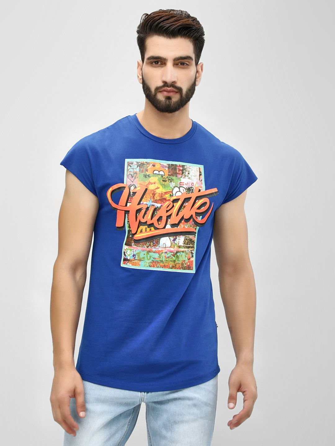 KOOVS Blue Hustle Graffiti Print T-Shirt 1