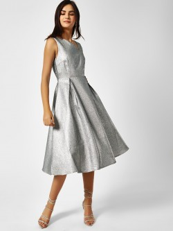 Glamorous Deep Back Silver Midi Dress