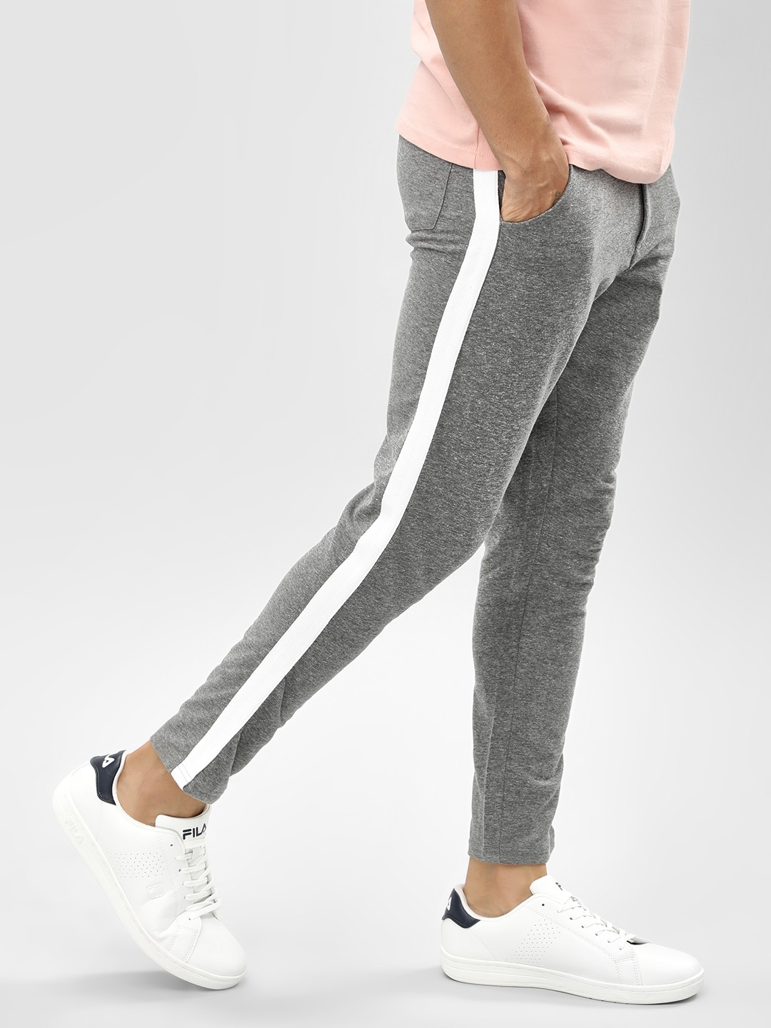 Garcon Charcoal Grey Contrast Side Tape Knitted Trousers 1