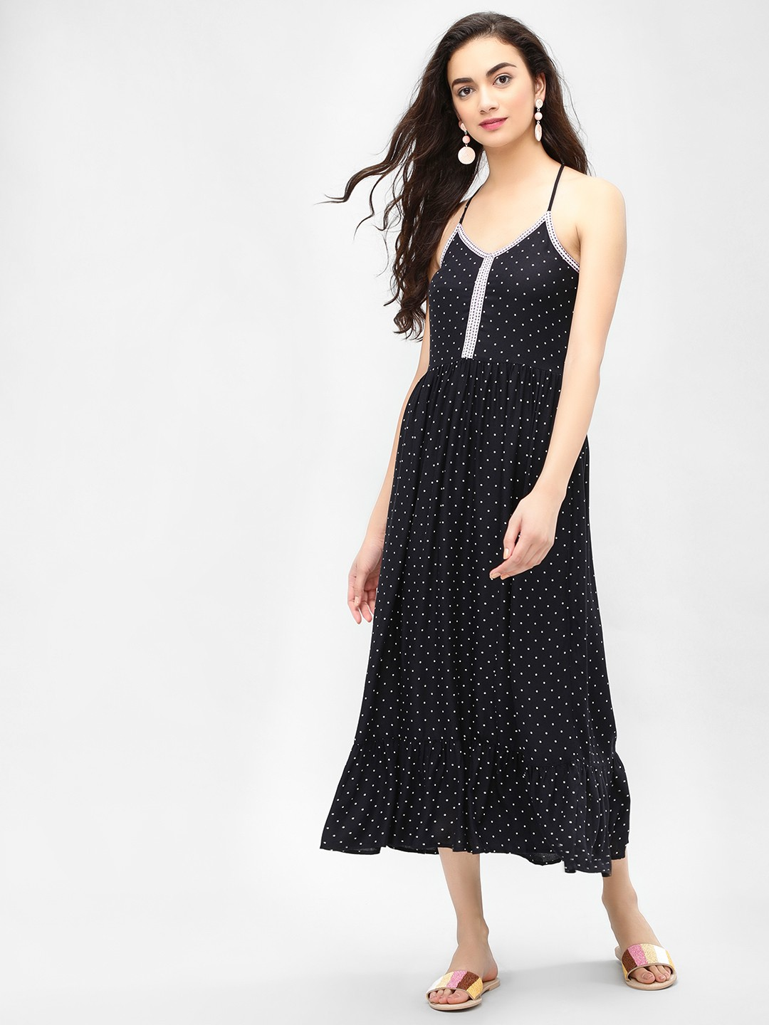 Sbuys Black Polka Dot Strappy Maxi Dress 1