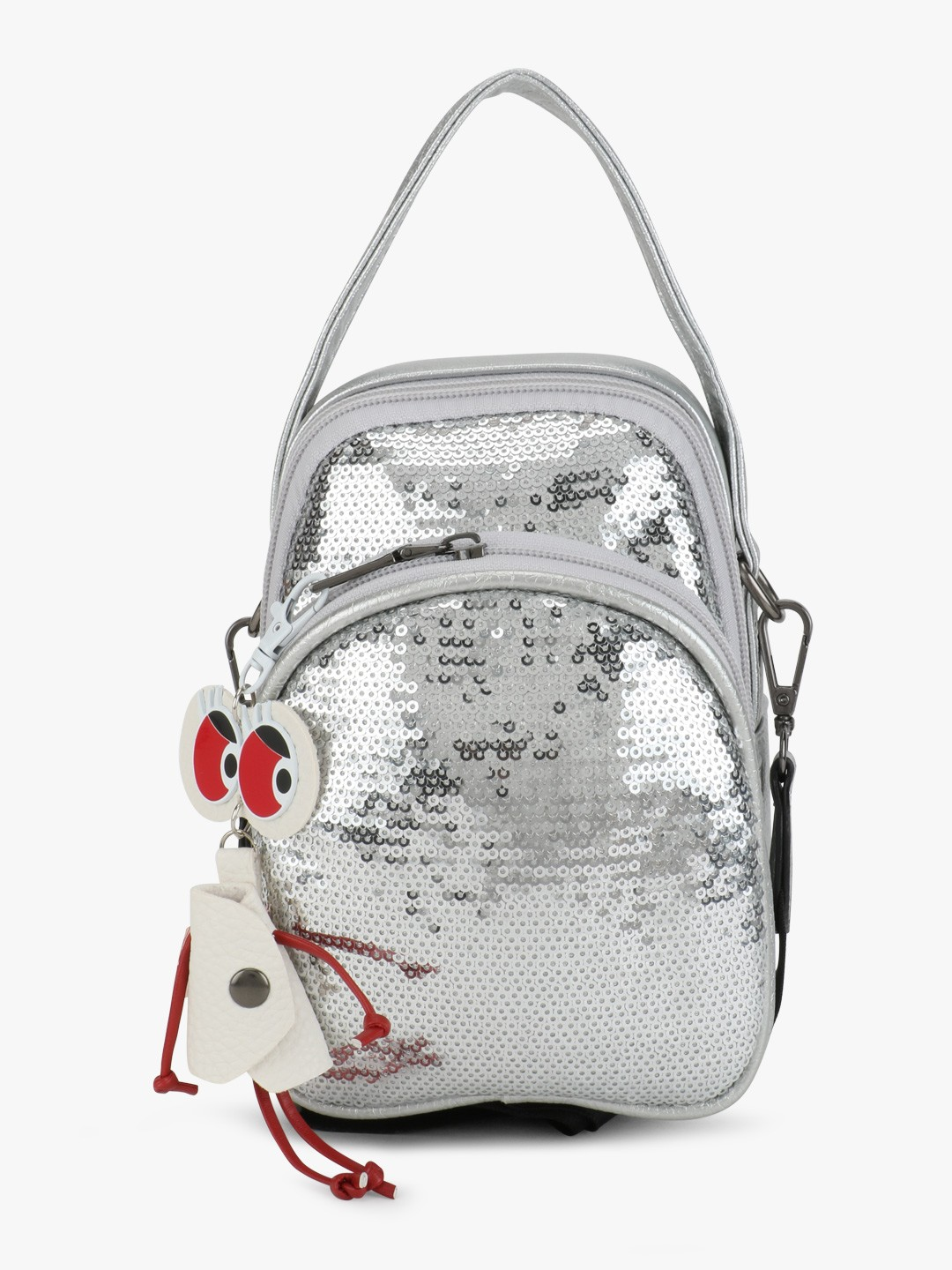 Origami Lily Silver Sequinned Crossbody Bag 1