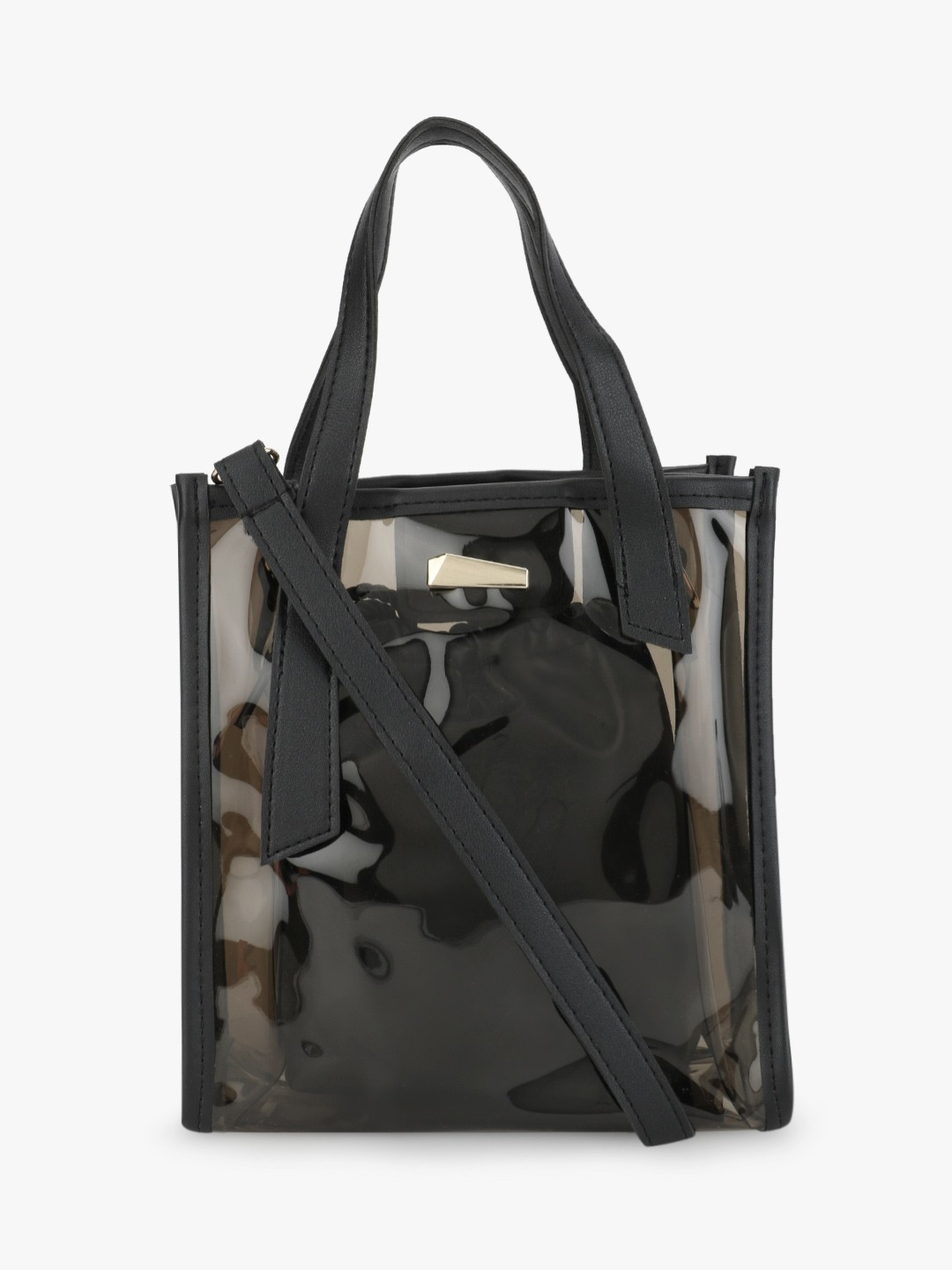 Origami Lily Black Holographic Perspex Sling Bag 1