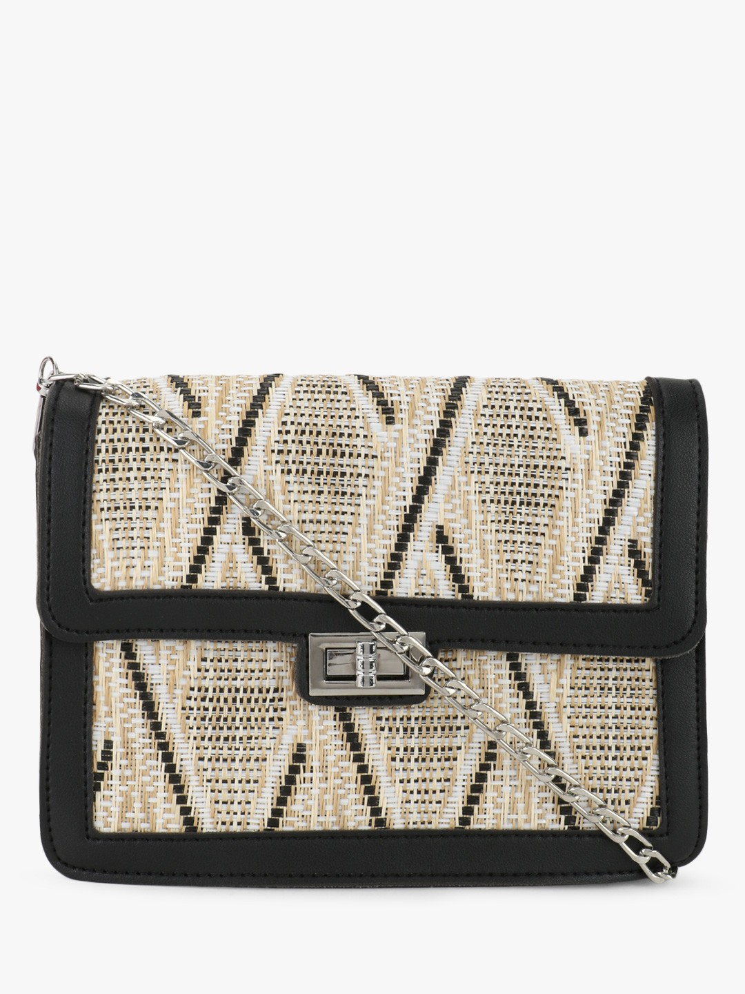 Origami Lily Black Textured Structured Sling Bag 1
