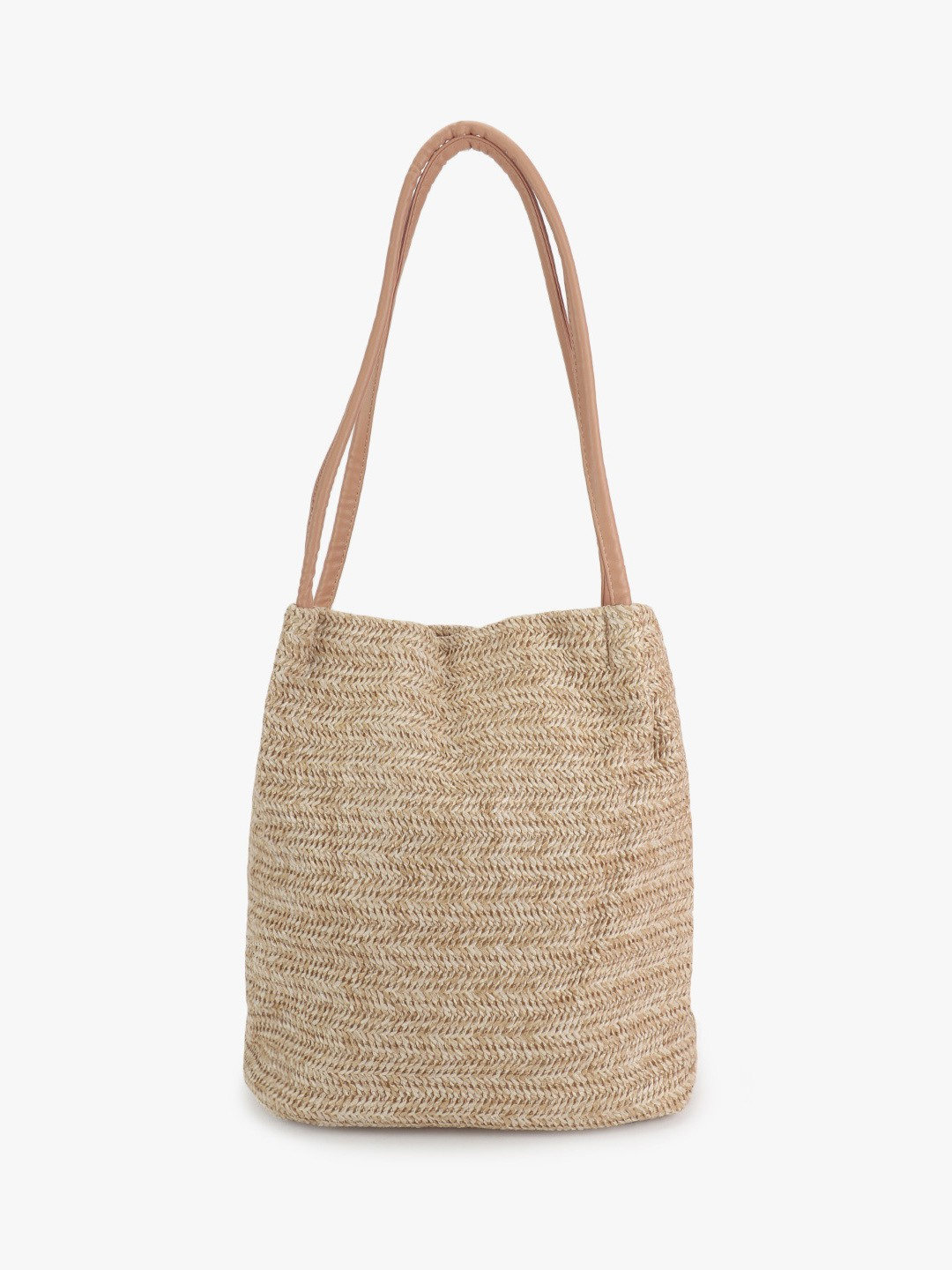 Origami Lily Beige Natural Wicker Tote Bag 1