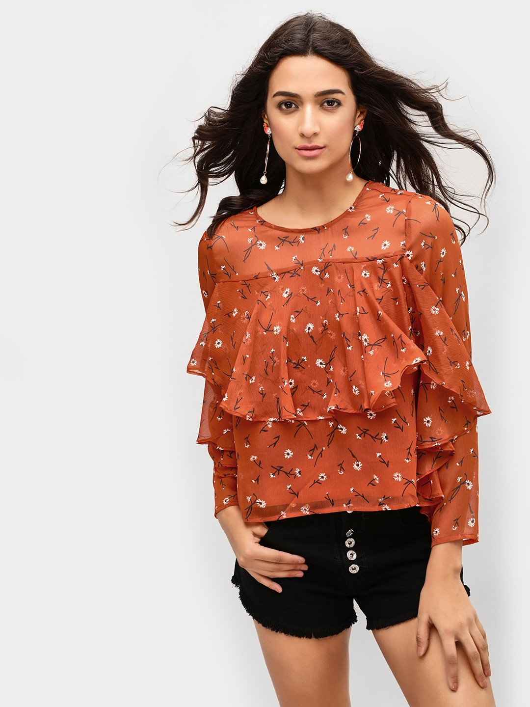 Cover Story Print Printed Layered Ruffle Blouse 1