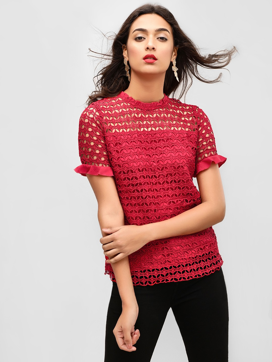 Cover Story Red Lace Blouse With Sleeve Detail 1