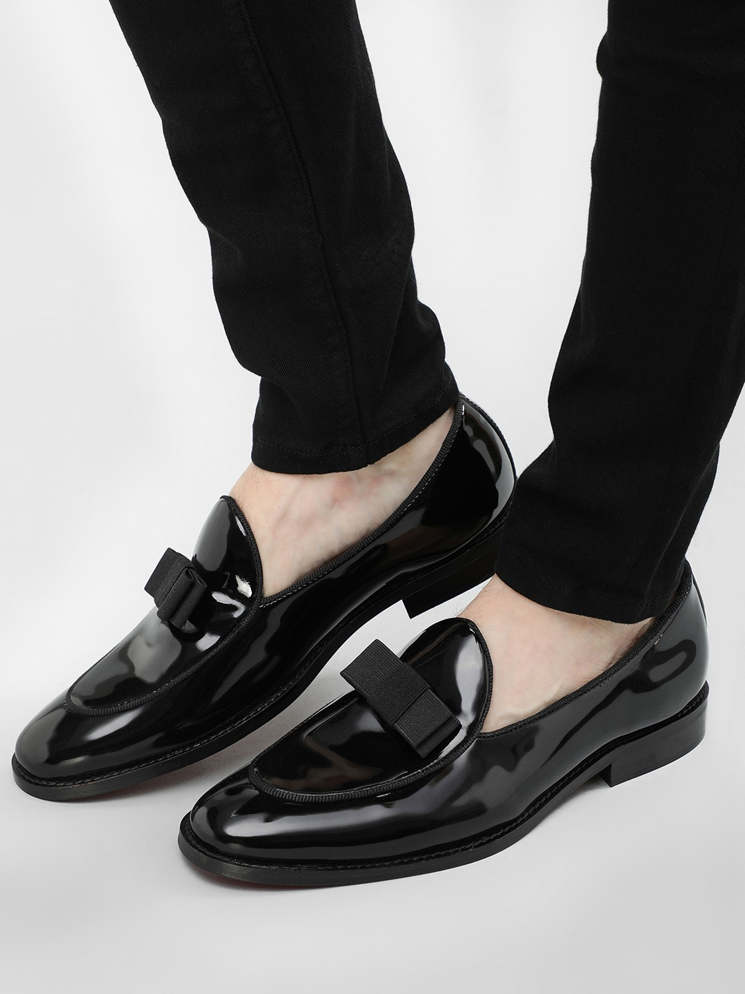 Griffin Black Bow Detail Patent Loafers 1