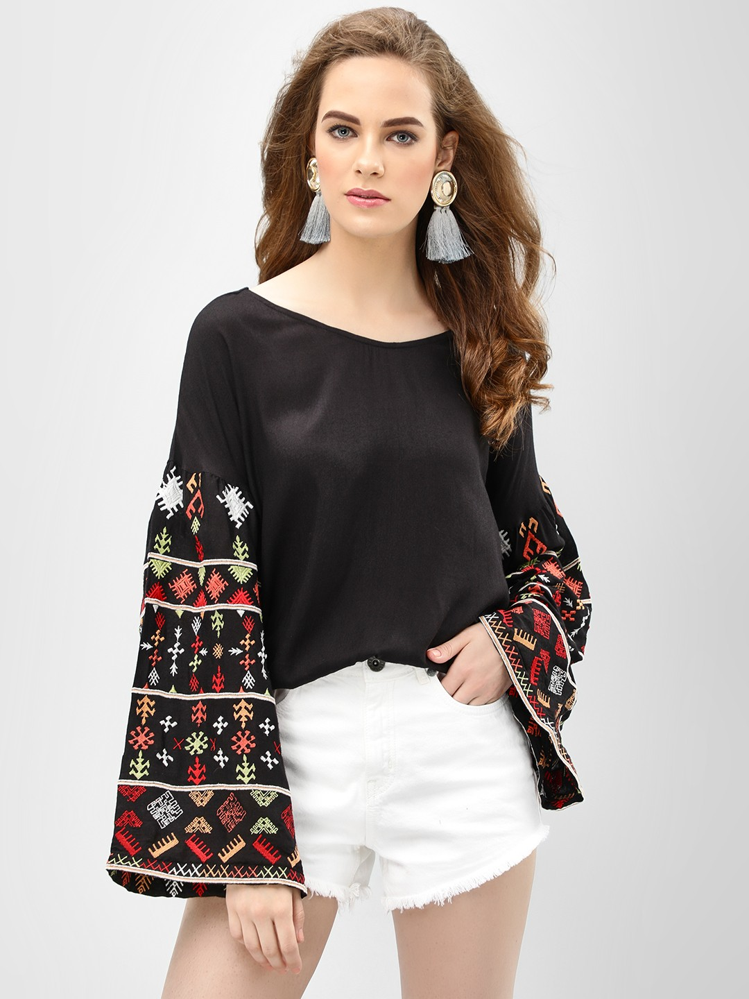 Buy Rena Love Floral Print Peplum Top For Women: Buy Rena Love Black Blouse With Embroidered Sleeves For