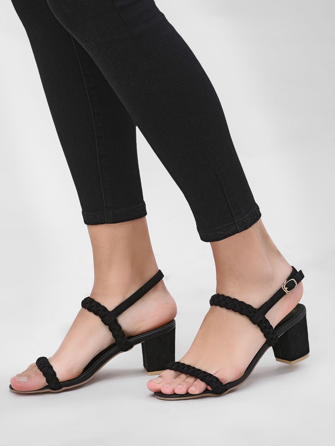 My Foot Couture Black Braided Heeled Sandals 1