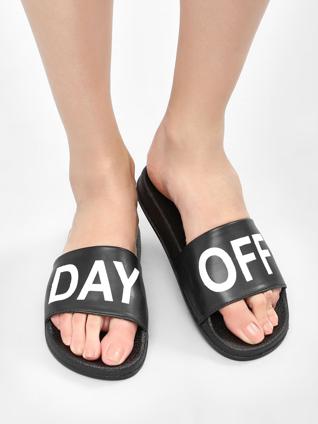 My Foot Couture Black 'Day-Off' Slogan Pool Sliders 1