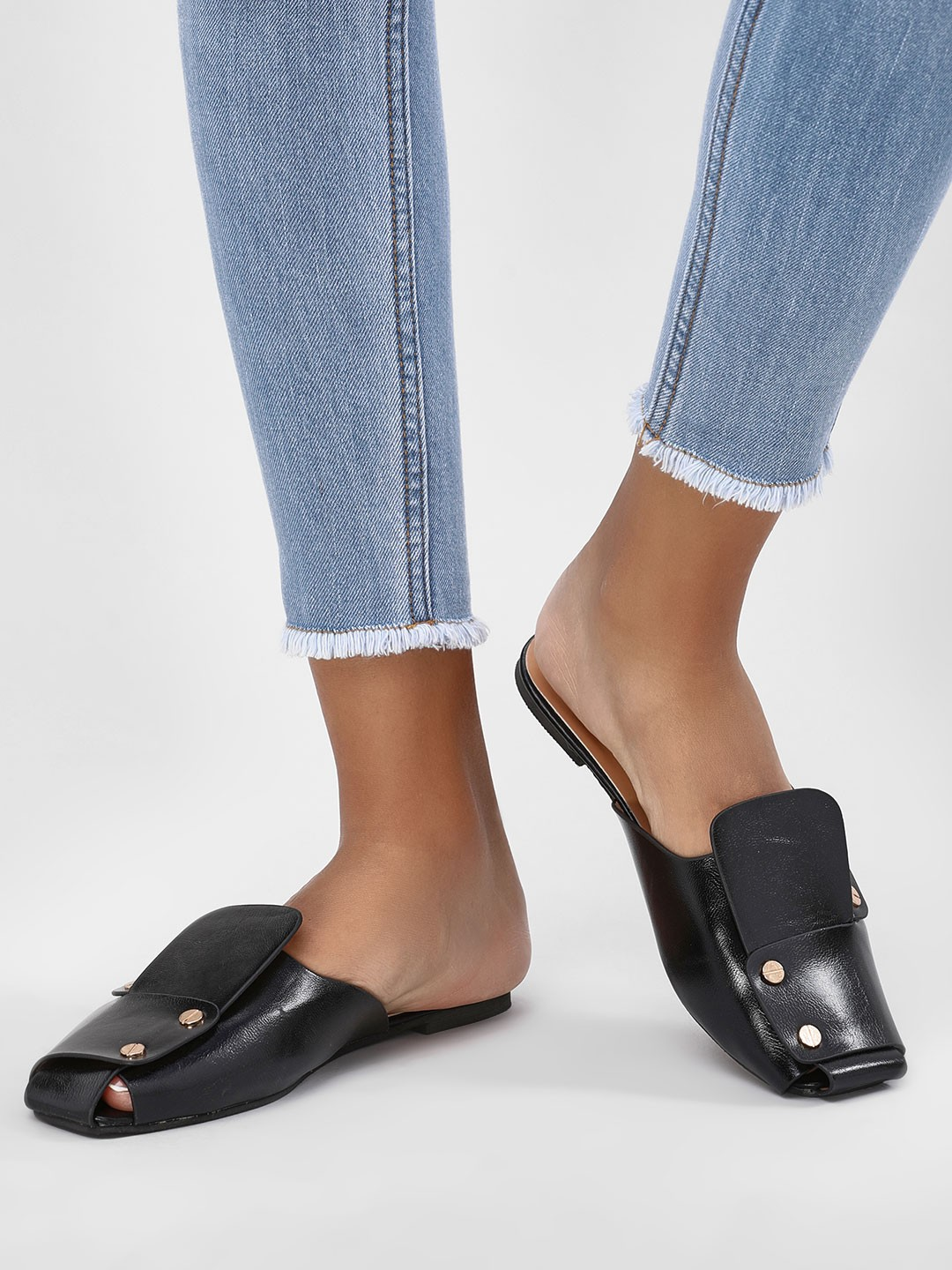 Sole Story Black Stud Detail Mules 1