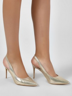 Intoto Metallic Sling Back Heeled Pumps