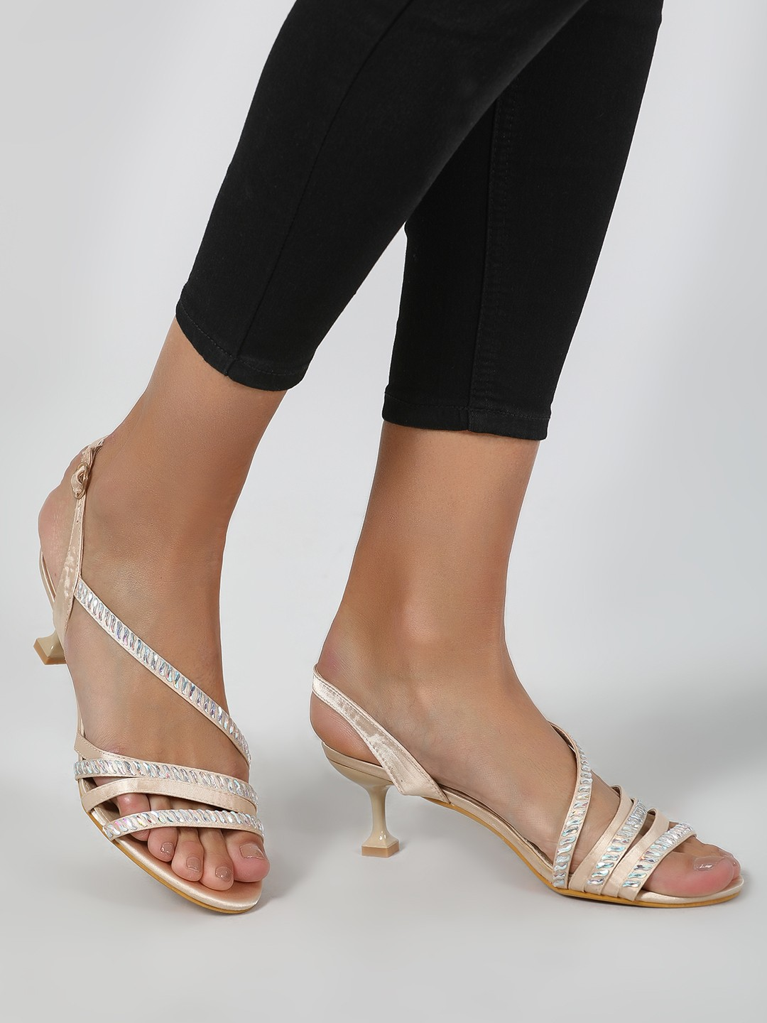 Intoto Gold Holographic Multi-Strap Kitten Heels 1