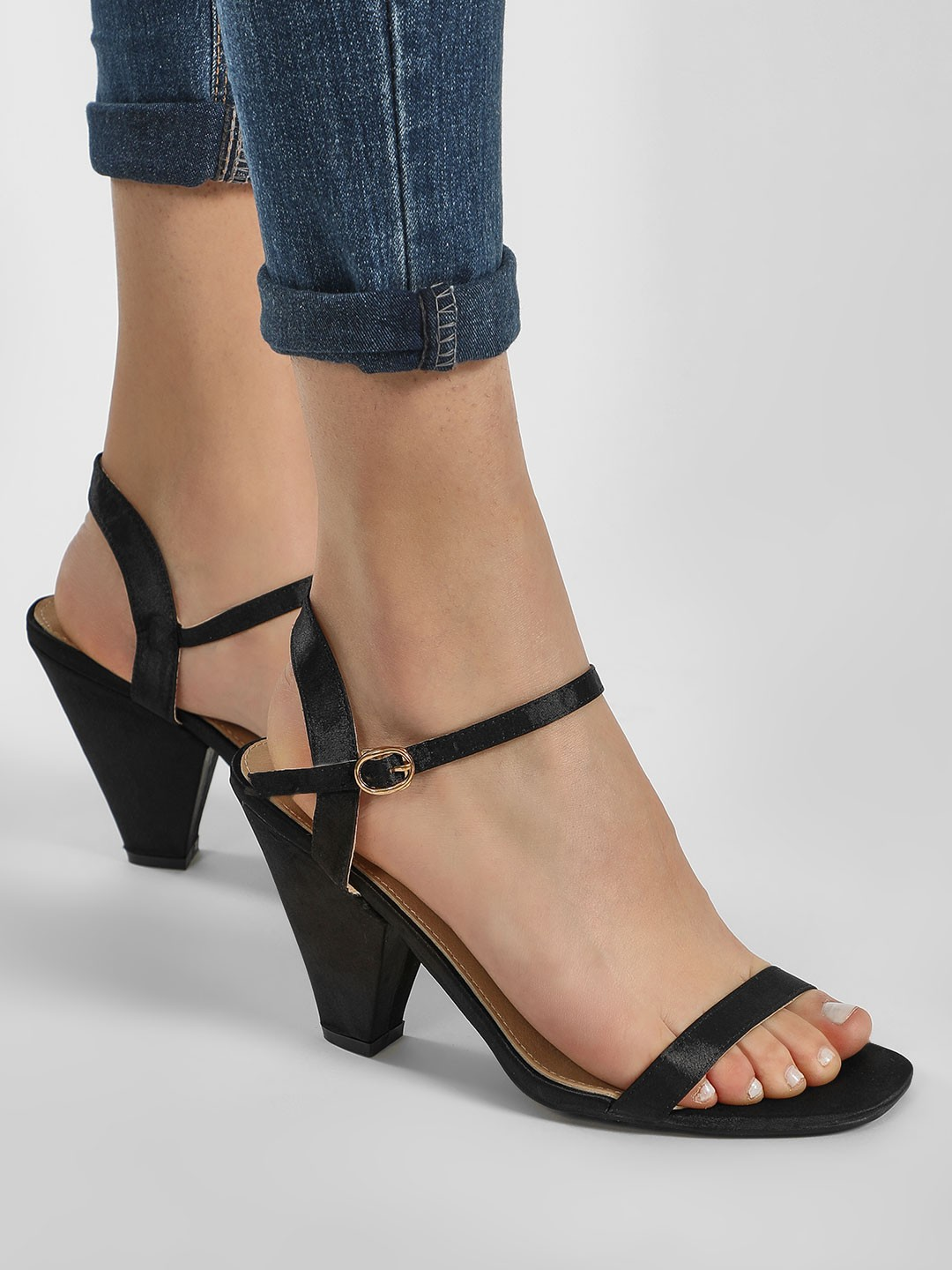 Intoto Black Conical Heeled Sandals 1