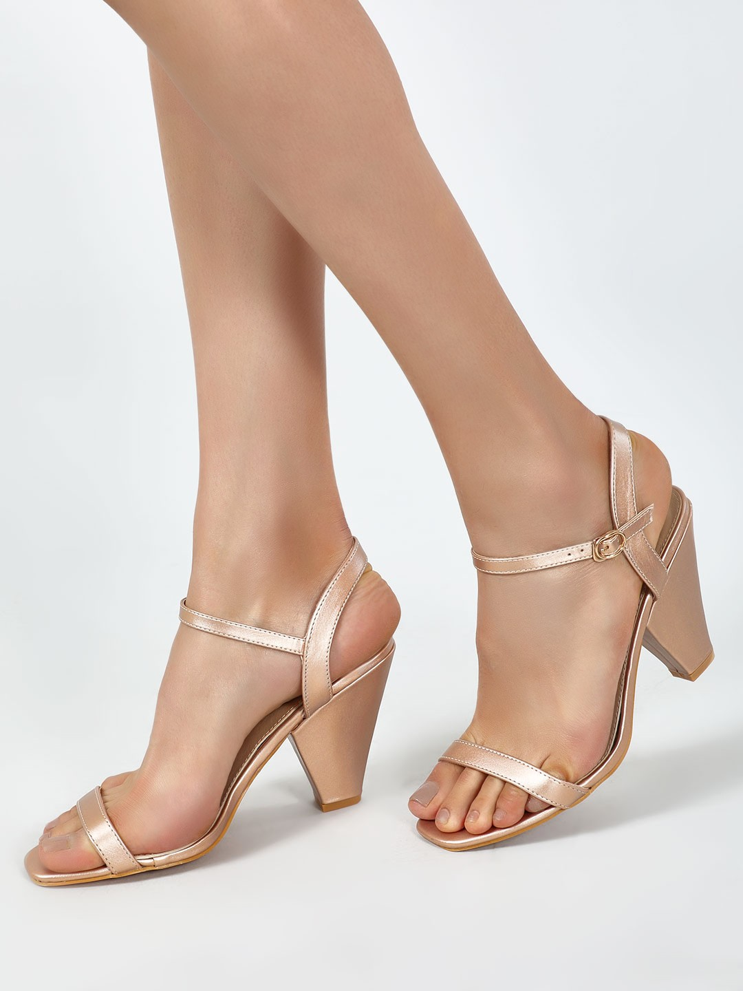 Intoto Rose Gold Conical Heeled Sandals 1