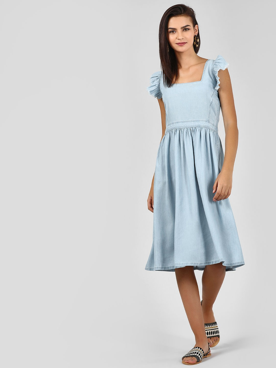 KOOVS Blue Frill Cross-Back Midi Dress 1