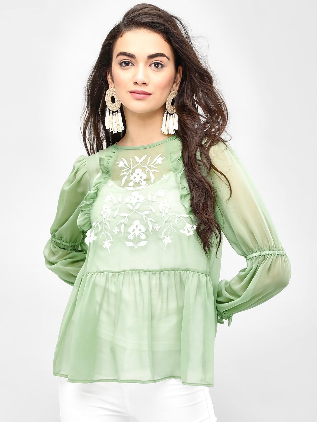 KOOVS Green Frill Detail Embroidered Top 1