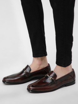 KOOVS Two-Tone Metal Trim Loafers