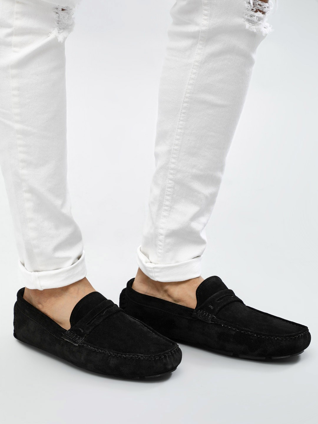 KOOVS Black Suede Leather Driver Loafers 1