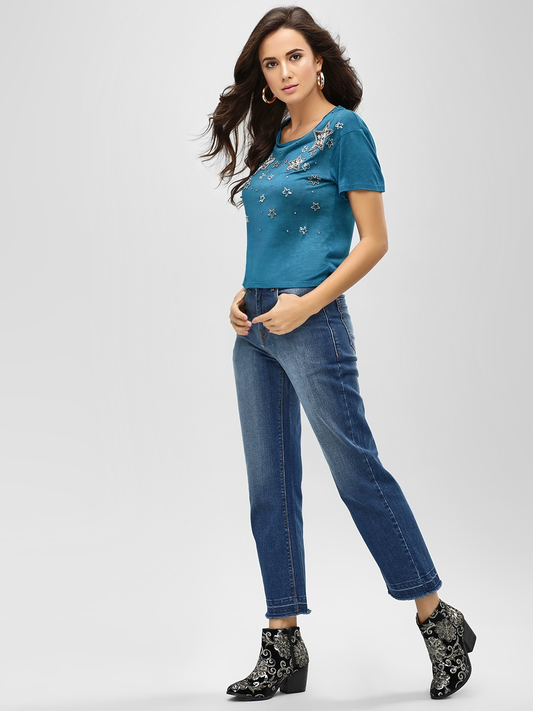 K Denim Blue KOOVS  Straight Fit Cropped Jeans 1