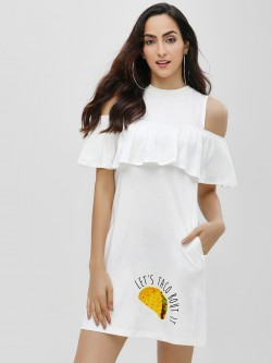 Spring Break Cold Shoulder Slogan Shift Dress